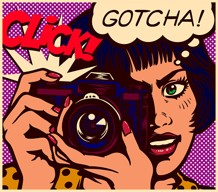 Pop art comics style paparazzi female reporter photographer girl taking picture with vintage photo camera vector illustration