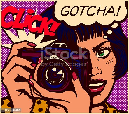 Pop art comic book style paparazzi photographer or female reporter journalist girl taking picture with vintage analog photo camera and speech bubble vector illustration