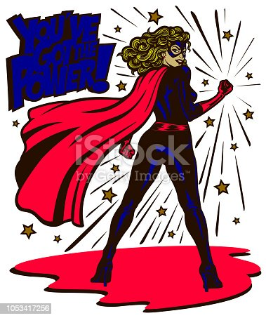 Pop art comic book style determined and powerful female superheroine standing with clenched fist female superhero vector illustration