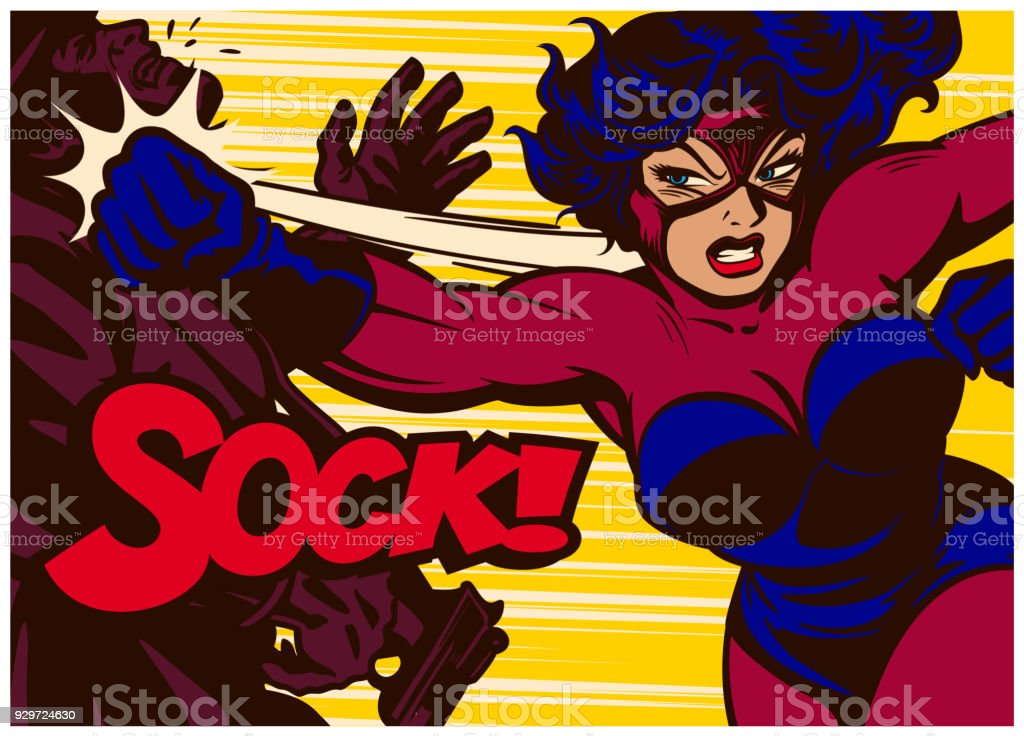 Pop art comics style super heroine fighting and punching supervillain vector illustration vector art illustration