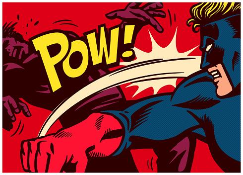 Pop art comics style superhero fighting and punching super villain vector illustration