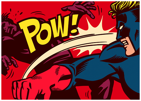 Pop art comic book style panel with superhero throwing punch and beating super villain with