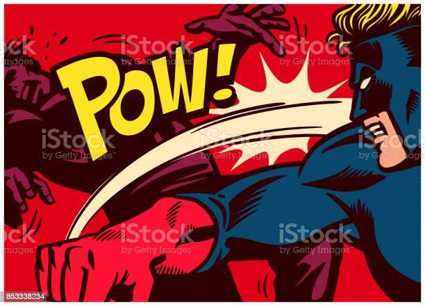 Pop art comics style superhero fighting and punching super villain vector id853338234?b=1&k=6&m=853338234&s=612x612&h=fporxdcy9eobw23l0okr7hehyjmteylgnfrnj xub o=
