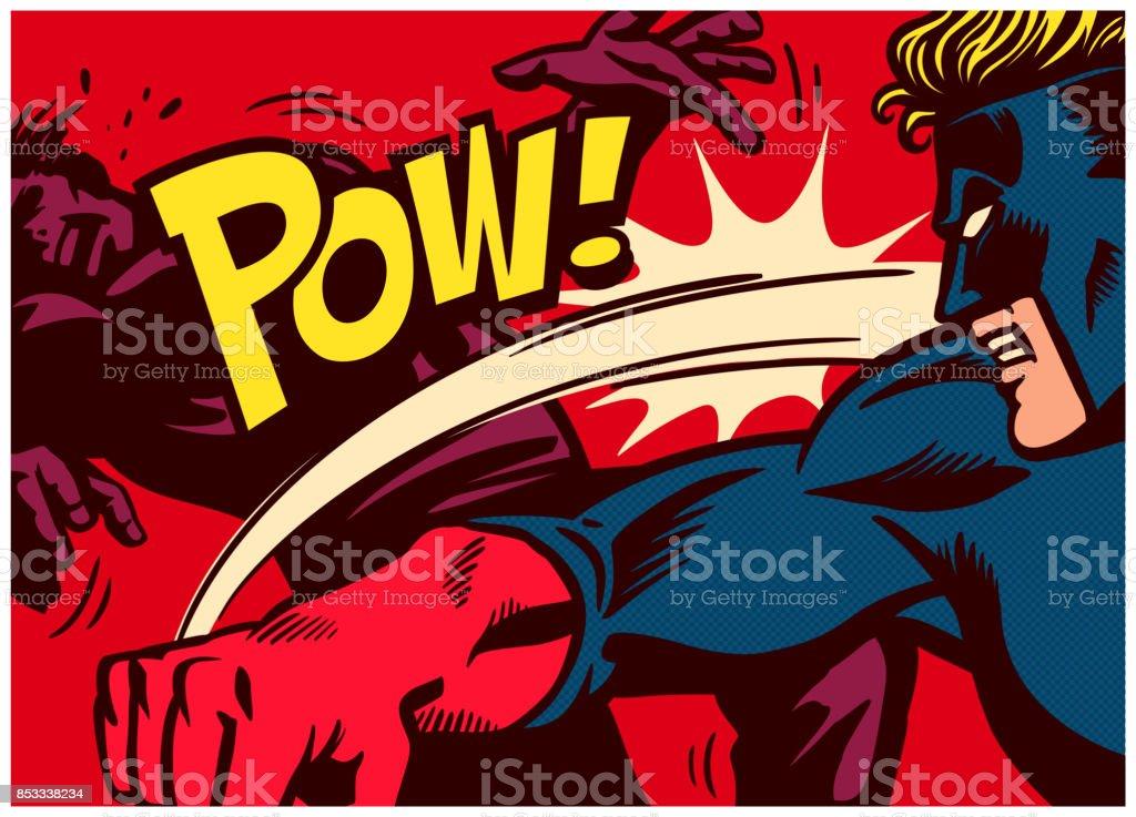 Arte pop quadrinhos estilo super-herói lutando e perfurando a ilustração vetorial de super vilão - ilustração de arte em vetor