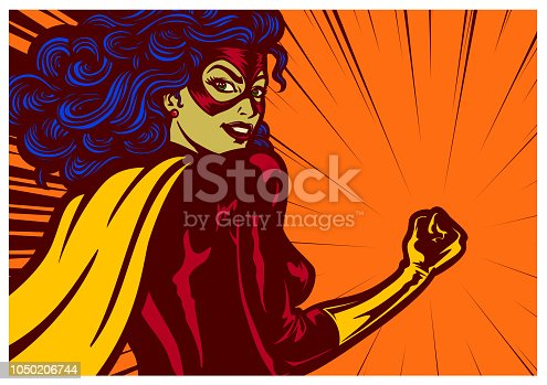 Pop art comic book style super heroine with clenched fist female superhero vector illustration