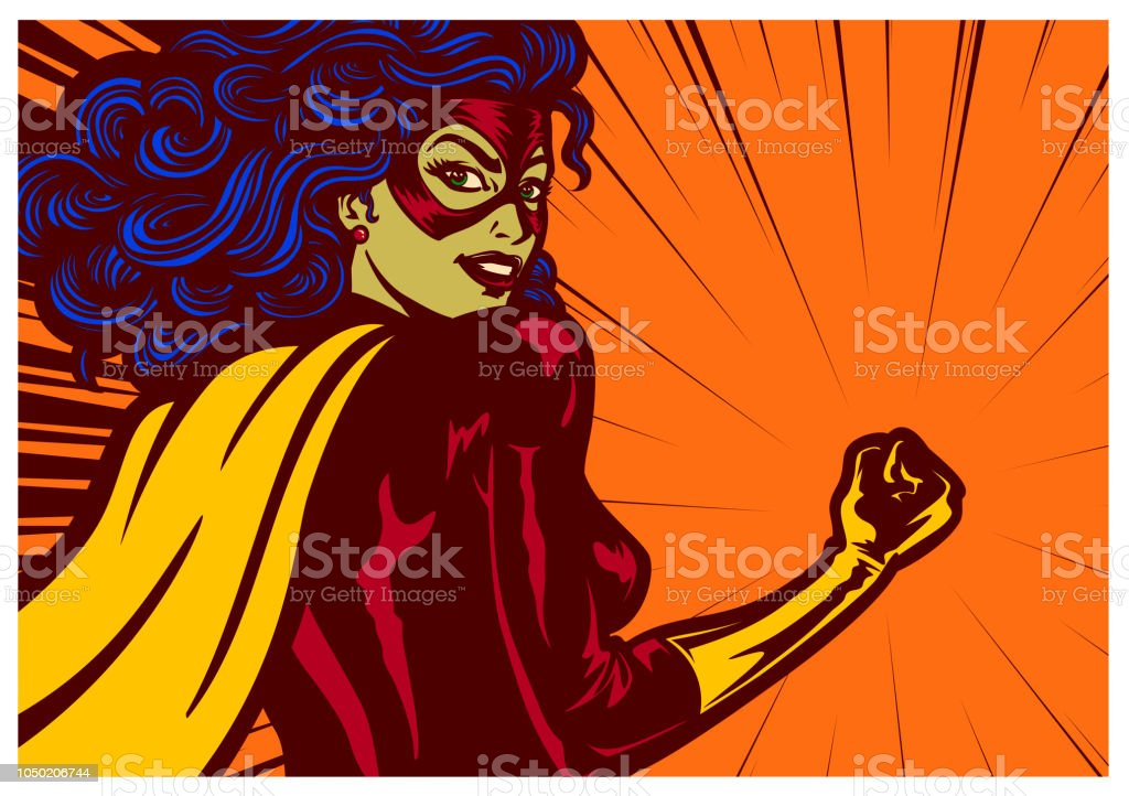 Pop art comics style superheroine with clenched fist female superhero vector illustration vector art illustration