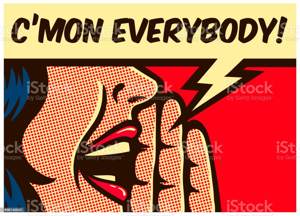 Pop art comics style woman calling and yelling out loud with speech bubble vector illustration