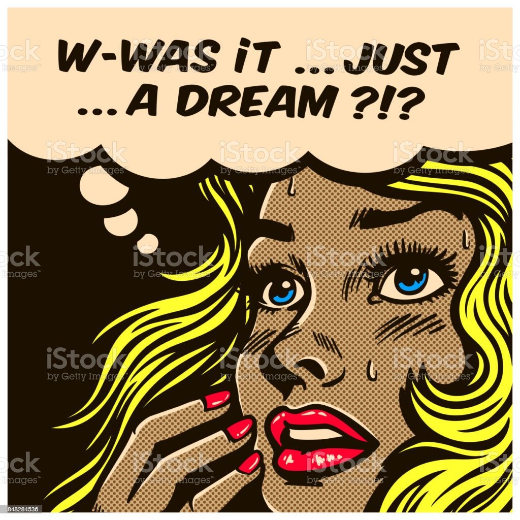 Pop art comics style wondering woman can't tell reality from fantasy vector illustration - Royalty-free Adult stock vector