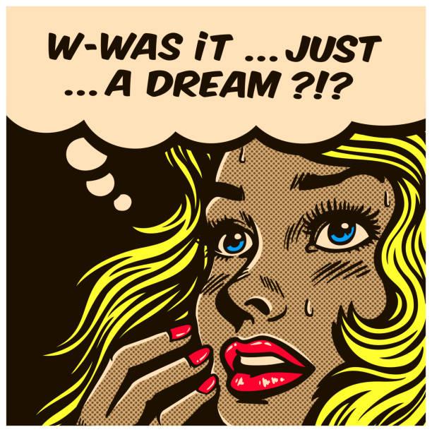 Pop art comics style wondering woman can't tell reality from fantasy vector illustration vector art illustration