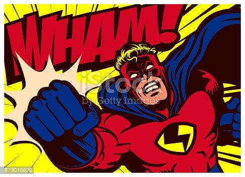 istock Pop art comics superhero throwing punch vector illustration 873016826