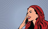 Pop Art Comics Woman. Dot Layer and Solid Color are in Separate Layers