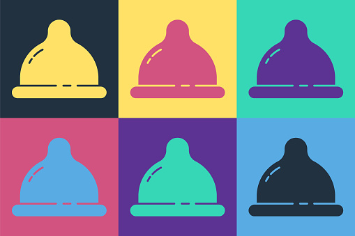 Pop art Condom safe sex icon isolated on color background. Safe love symbol. Contraceptive method for male. Vector Illustration