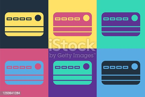 istock Pop art Credit card icon isolated on color background. Online payment. Cash withdrawal. Financial operations. Shopping sign. Vector Illustration 1253641284