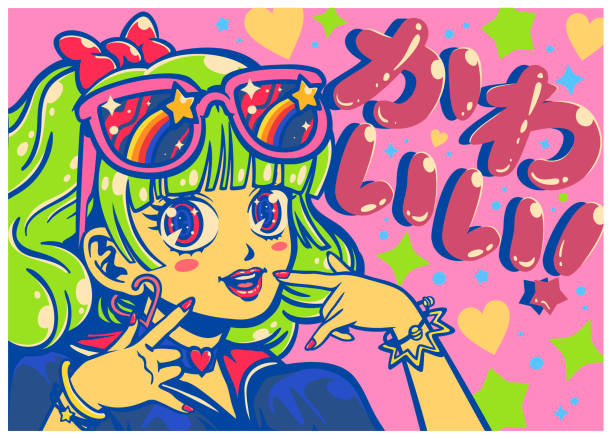 ilustrações de stock, clip art, desenhos animados e ícones de pop art cute kawaii idol girl with big shiny eyes japanese anime or manga style vector illustration - japanese font