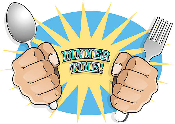 Pop Art Dinner Time Fists with Cutlery. vector art illustration