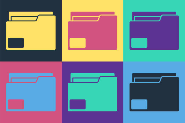 Pop art Document folder icon isolated on color background. Accounting binder symbol. Bookkeeping management. Vector Illustration Pop art Document folder icon isolated on color background. Accounting binder symbol. Bookkeeping management. Vector Illustration business clipart stock illustrations