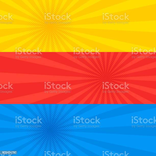 Pop art dotted retro style yellow red and blue banner set vector id925424792?b=1&k=6&m=925424792&s=612x612&h=yugmausmnz9bjnahgyx597pwwxrqhwoc nqefrk48v4=