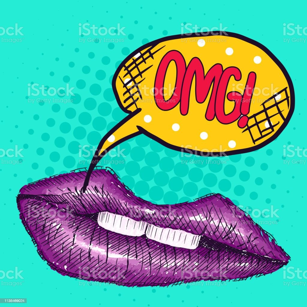 Pop Art Drawing Purple Lips With The Inscription Stock Illustration Download Image Now Istock