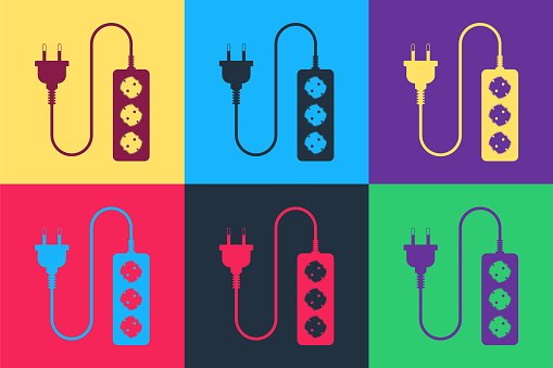 Pop art Electric extension cord icon isolated on color background. Power plug socket. Vector