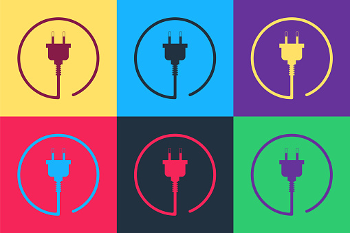 Pop art Electric plug icon isolated on color background. Concept of connection and disconnection of the electricity. Vector