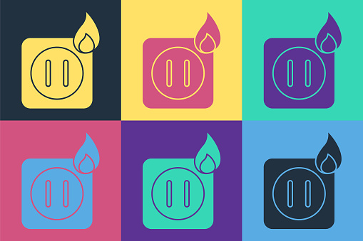 Pop art Electric wiring of socket in fire icon isolated on color background. Electrical safety concept. Plug outlet on fire. Vector Illustration