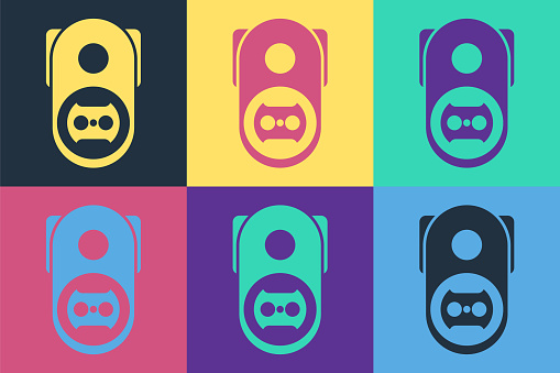 Pop art Electrical outlet icon isolated on color background. Power socket. Rosette symbol. Vector Illustration