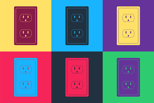 Pop art Electrical outlet in the USA icon isolated on color background. Power socket. Vector