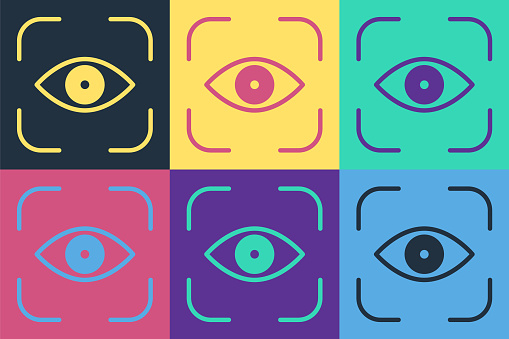 Pop art Eye scan icon isolated on color background. Scanning eye. Security check symbol. Cyber eye sign. Vector Illustration