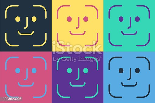 Pop art Face recognition icon isolated on color background. Face identification scanner icon. Facial id. Cyber security concept. Vector Illustration