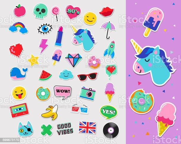 Pop art fashion chic patches pins badges and stickers vector id599673170?b=1&k=6&m=599673170&s=612x612&h=f4a7vtbawbw92eiqyk7pfecroaeqd0z6e2wh0oc2cxk=