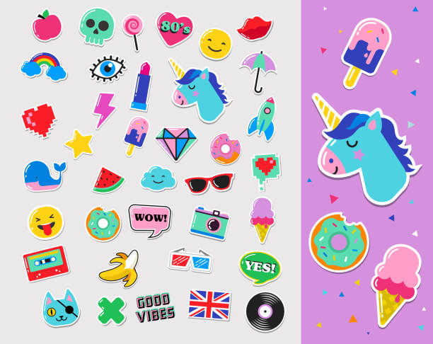 ilustraciones, imágenes clip art, dibujos animados e iconos de stock de pop art fashion chic patches, pins, badges and stickers - moda de maquillaje