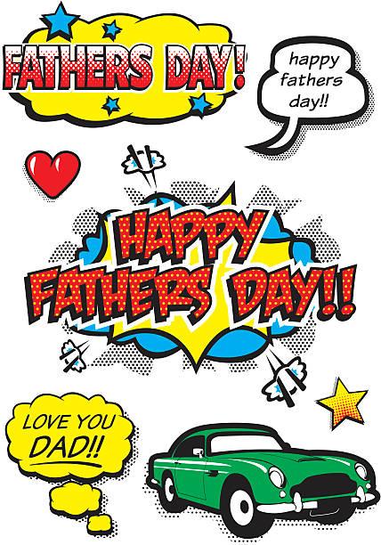 Pop Art Fathers Day Elements vector art illustration