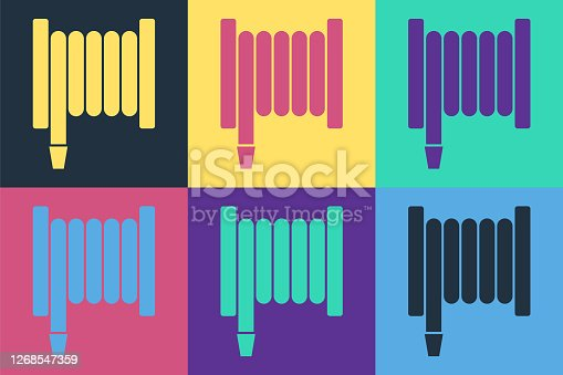Pop art Fire hose reel icon isolated on color background. Vector Illustration