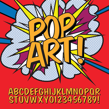 Pop Art font alphabet vector