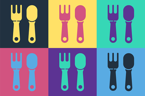 Pop art Fork and spoon icon isolated on color background. Cooking utensil. Cutlery sign. Vector Illustration