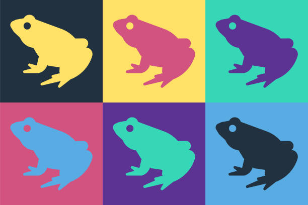 Pop art Frog icon isolated on color background. Animal symbol. Vector Pop art Frog icon isolated on color background. Animal symbol. Vector. amphibians stock illustrations