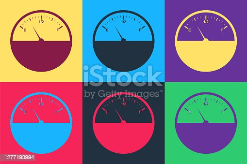 Pop art Fuel gauge icon isolated on color background. Full tank. Vector.