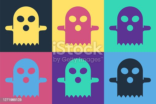 Pop art Ghost icon isolated on color background. Happy Halloween party. Vector.