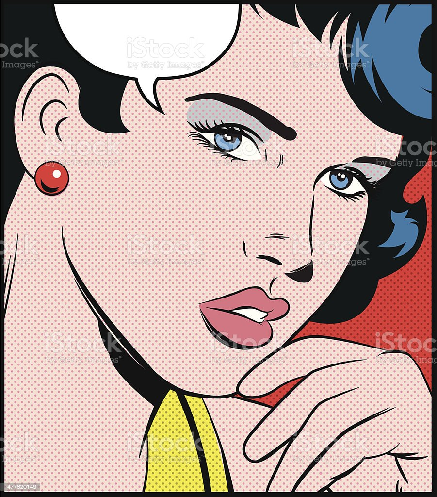 pop art girl vector art illustration