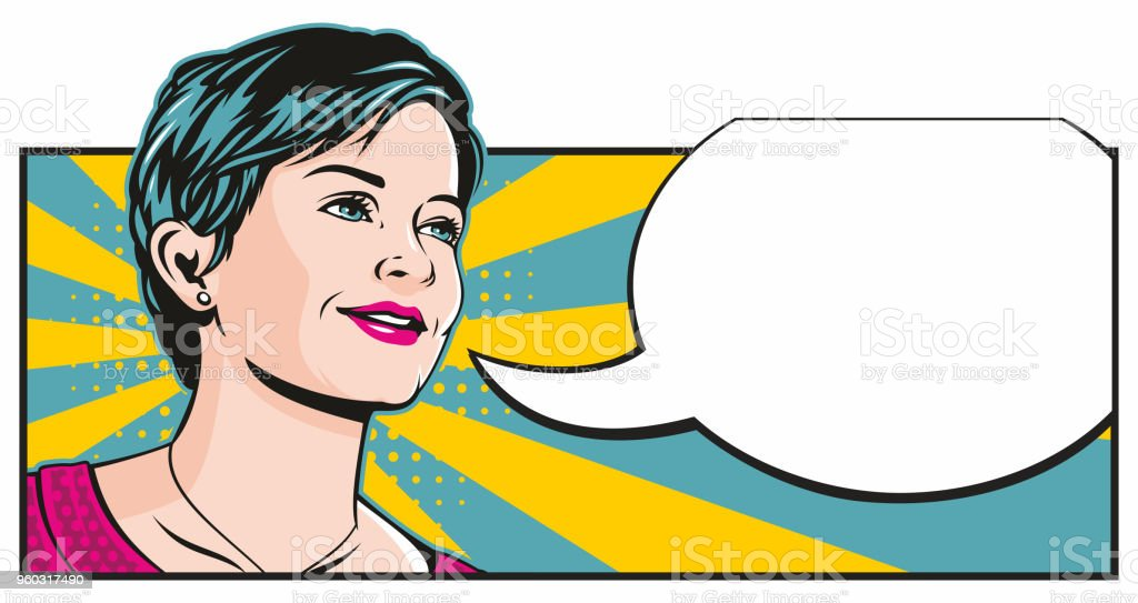 Pop Art Girl with Speech Bubble vector art illustration