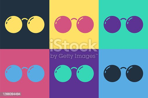 Pop art Glasses icon isolated on color background. Eyeglass frame symbol. Vector Illustration