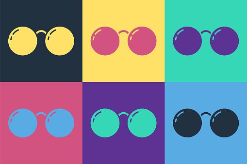 Pop art Glasses icon isolated on color background. Eyeglass frame symbol. Vector Illustration