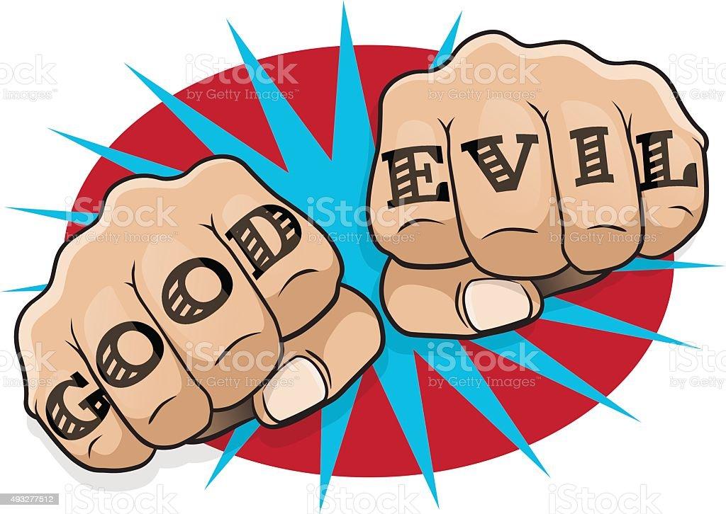 Pop Art Good Evil Tattoo Fists Stock Vector Art More Images Of