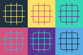 Pop art Grid graph paper icon isolated on color background. Vector Illustration