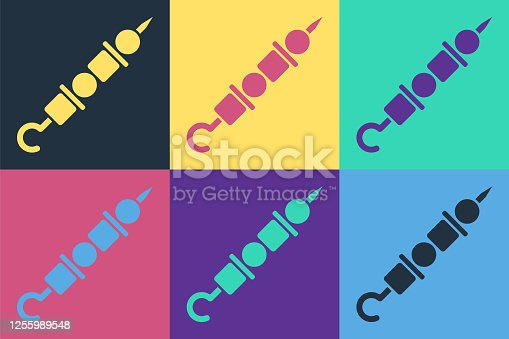 istock Pop art Grilled shish kebab on skewer stick icon isolated on color background. Meat kebab on skewer stick. Picnic with grilled meat. Vector Illustration 1255989548