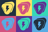 Pop art Guitar pick icon isolated on color background. Musical instrument. Vector Illustration