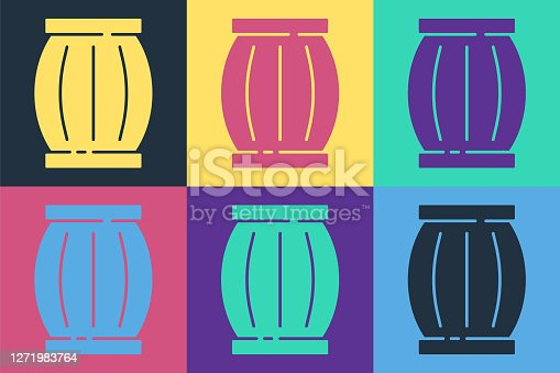 Pop art Gun powder barrel icon isolated on color background. TNT dynamite wooden old barrel. Vector.