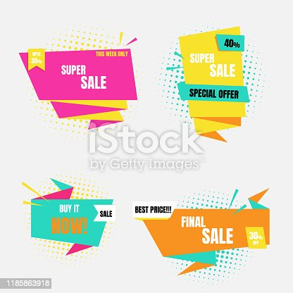 pop art half tone colorful special offer sale tag price, shopping concept, banner sign discount promotion price set, flat design, vector, illustration