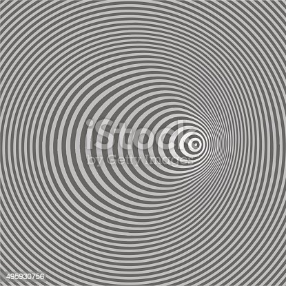 Line art vector of halftone pattern concentric circles. Optical illusion, is it concave or convex