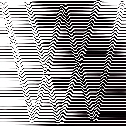 Pop Art Halftone Pattern of Rippled, Wavy Lines Forming W